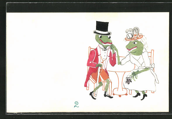 Künstler-AK Handgemalt: Froschkavalier und Dame bei Tisch