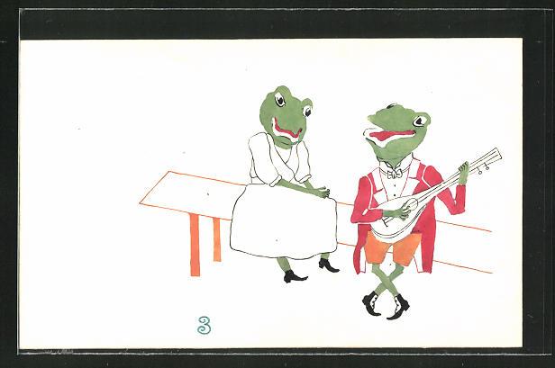 Künstler-AK Handgemalt: Froschkavalier musiziert für Froschdame