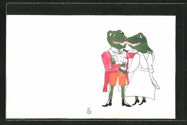 Künstler-AK Handgemalt: Froschkavalier und Froschdame