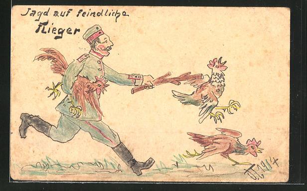 Künstler-AK Handgemalt: Jagd auf feindlicher Flieger, Soldatenhumor 0