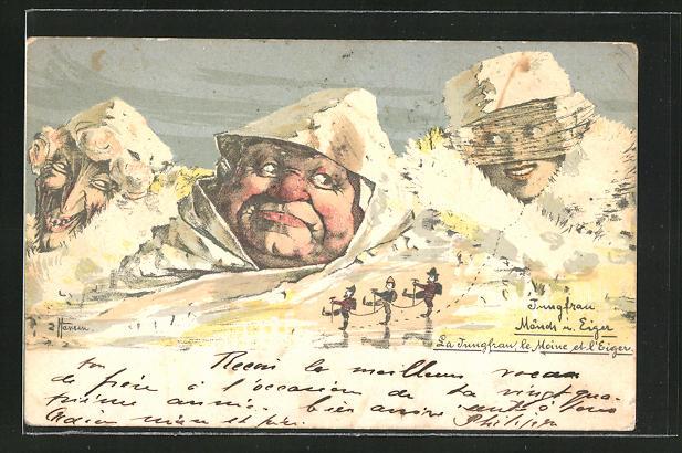 Künstler-Lithographie sign. H. Hansen / Emil Nolde: Jungfrau, Mönch u. Eiger, Berge mit Gesicht / Berggesichter 0