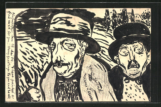 Künstler-AK Handgemalt: Ausdruckstarke Gesichter zweier Männer 0