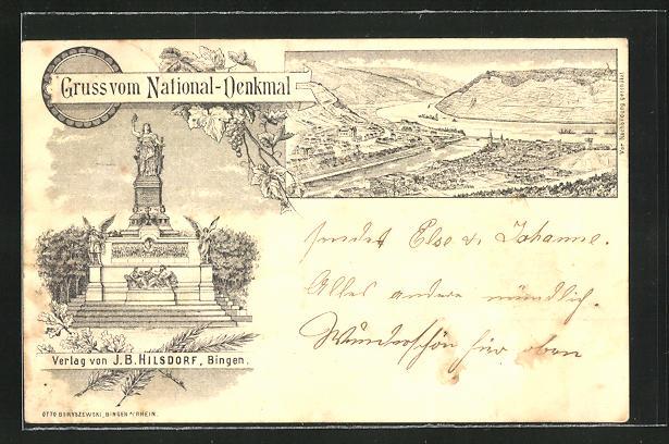 Vorläufer-AK Bingen, 1896, National-Denkmal und Panorama 0