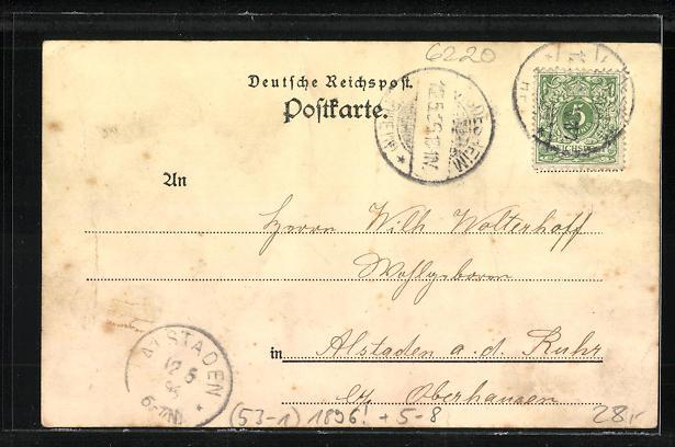 Vorläufer-AK Bingen, 1896, National-Denkmal und Panorama 1