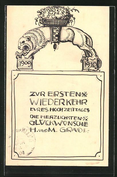 Künstler-AK Handgemalt: Zur ersten Wiederkehr eures Hochzeitstages..., 1909-1910, Ganzsache 0