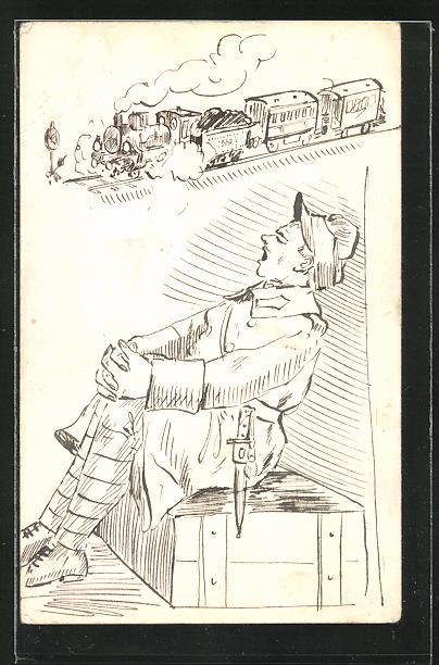 Künstler-AK Handgemalt: Österreich. Soldat und Eisenbahn 0
