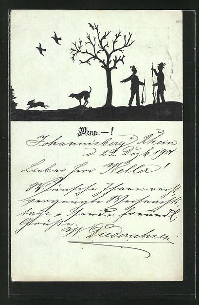 Künstler-AK Fidus: Jäger mit Jagdhund und fliehender Hase, Silhouetten 0