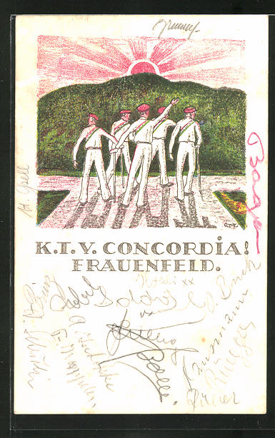 Künstler-AK Frauenfeld, Studentische Vereinigung K.I.V. Concordia, Studenten in vollem Wichs