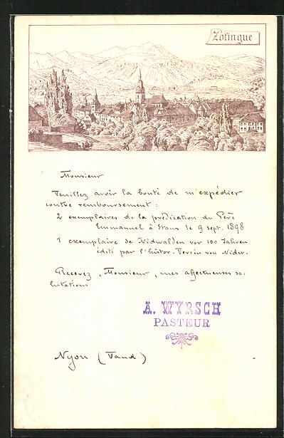 Lithographie Zofingen, Panoramablick auf Ort und Berge 0