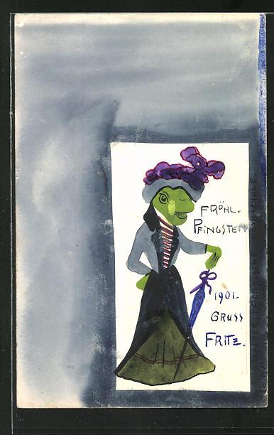 Künstler-AK Handgemalt: Frosch-Dame wünscht fröhliche Pfingsten 1901