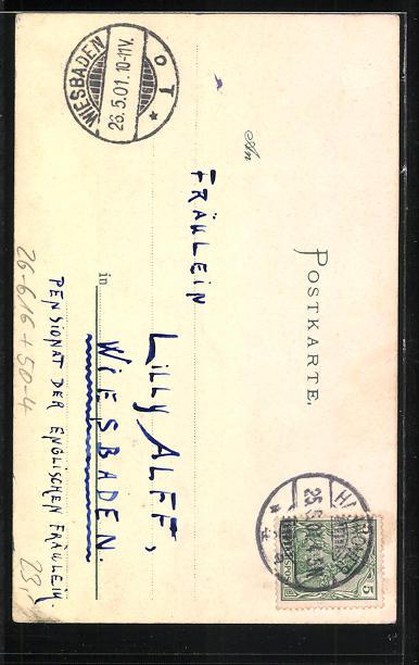 Künstler-AK Handgemalt: Frosch-Dame wünscht fröhliche Pfingsten 1901 1