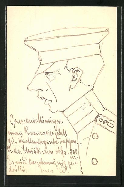 Künstler-AK Handgemalt: Offizier in Uniform, Portrait im Profil