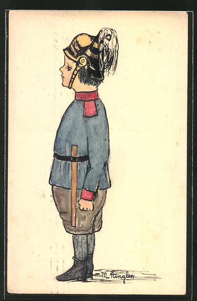Künstler-AK Handgemalt: Knabe in Uniform mit Helm 0