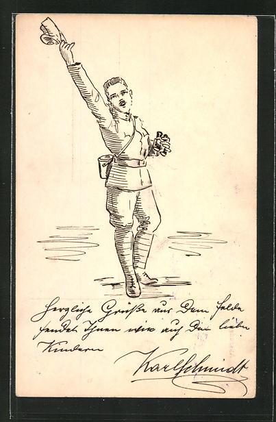 Künstler-AK Handgemalt: Soldat mit Feldstecher zieht grüssend die Mütze
