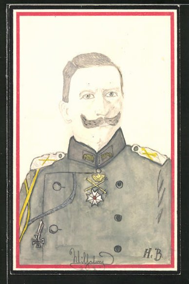 Künstler-AK Handgemalt: Kaiser Wilhelm II. in Uniform
