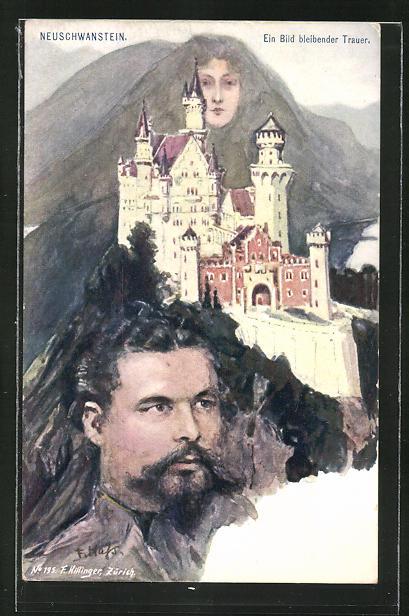 Künstler-AK Fritz Hass, Killinger Nr. 195: Porträt v. König Ludwig II., Neuschwanstein, Berg mit Gesicht / Berggesichter