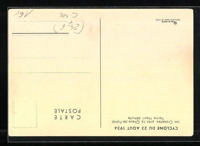 AK Les Crosettes, Cyclone du 23 Aout 1934, Ferme Hauri détruite 1