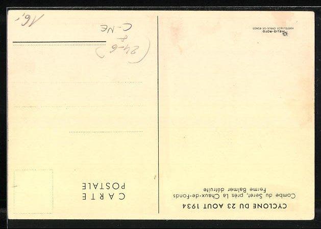 AK Combe du Seret, Cyclone du 23 Aout 1934, Ferme Balmer détruite 1
