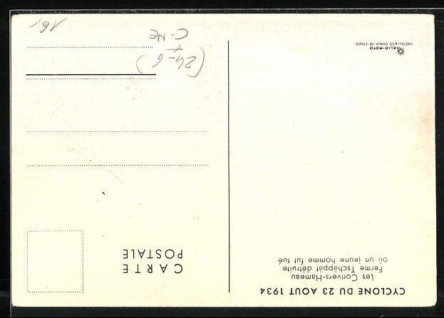 AK Les Convers-Hameau, Cyclone du 23 Aout 1934, Ferme Tschäppät détruite 1