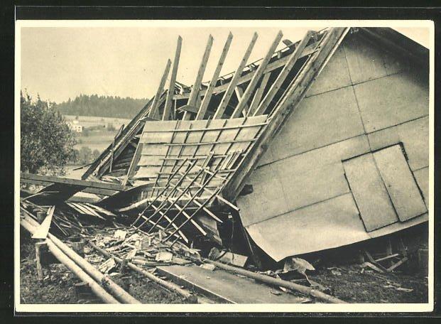 AK Les Crosettes, Cyclone du 23 Aout 1934, Dégats au Cafe Hadorn 0