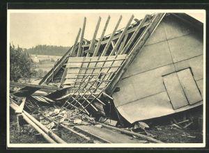 AK Les Crosettes, Cyclone du 23 Aout 1934, Dégats au Cafe Hadorn