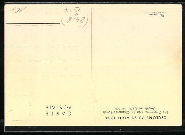 AK Les Crosettes, Cyclone du 23 Aout 1934, Dégats au Cafe Hadorn 1