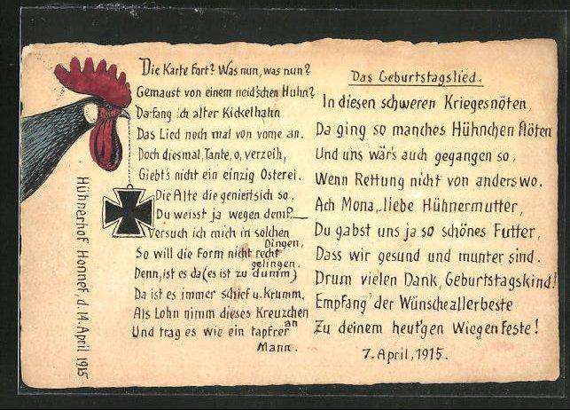 Künstler-AK Handgemalt: Honnef, Hühnerhof, Hahn mit Eisernem Kreuz, Geburtstagslied 0