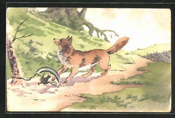 Künstler-AK Handgemalt: Wolf und Vogel hängen in einer Falle fest 0