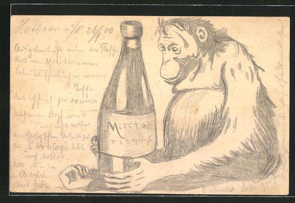 Künstler-AK Handgemalt: Orangutan mit einer Weinflasche, Ganzsache 0