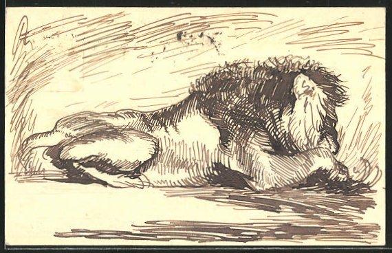 Künstler-AK Handgemalt: Löwe labt sicht an seiner Beute