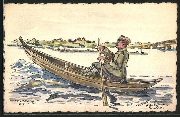 Künstler-AK Handgemalt: Nowgorod, Soldat in einem Ruderboot mit Ortsansicht und Brücke im Hintergrund