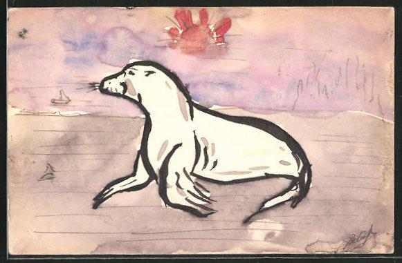 Künstler-AK Handgemalt: Robbe am Strand bei Sonnenschein 0