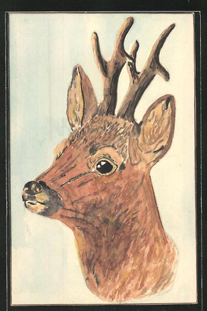 Künstler-AK Handgemalt: Bildnis eines Rehs im Profil