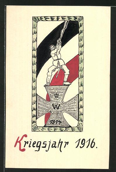 Künstler-AK Handgemalt: Kriegsjahr 1916, Soldat schwenkt die Reichsfahne auf dem Eisernen Kreuz
