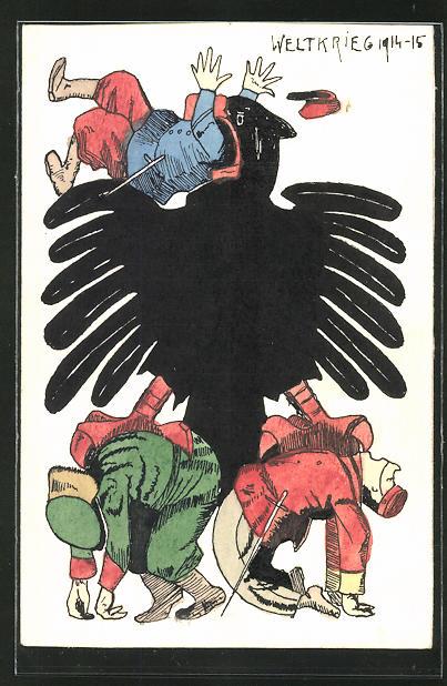 Künstler-AK Handgemalt: Deutscher Adler frisst einen französischen Soldaten, Russ. und jap. Soldat in den Krallen