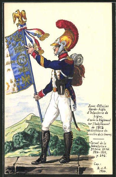 Künstler-AK Handgemalt: Garde-Offizier der Infanterie 1812 in Uniform mit Standarte 0