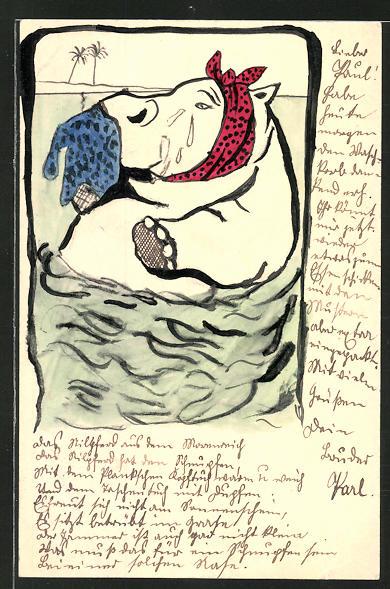 Künstler-AK Handgemalt: Verwundetet Nilpferd weint vor Schmerzen 0