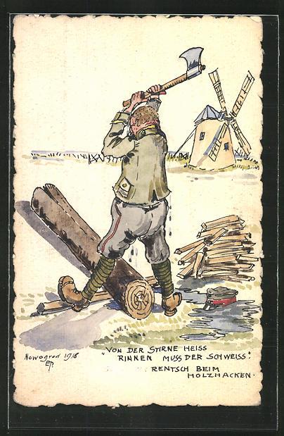 Künstler-AK Handgemalt: Nowgorod, Soldat mit Axt beim holzhacken, Windmühle im Hintergrund