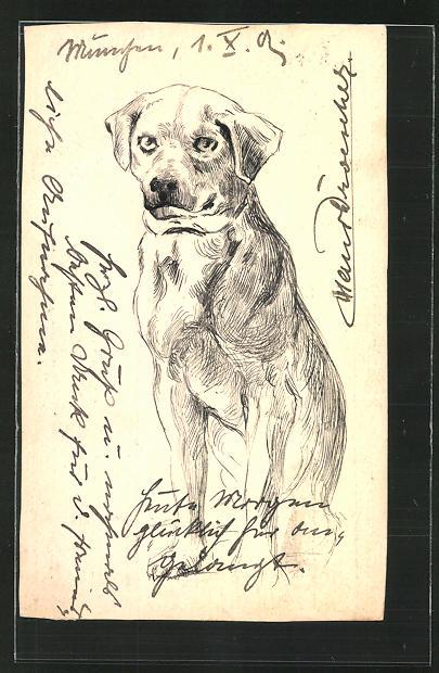 Künstler-AK Handgemalt: Bildnis eines Hundes
