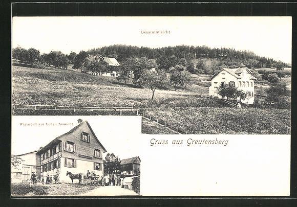 AK Greutensberg, Gasthaus zur frohen Aussicht, Teilansicht vom Ort 0