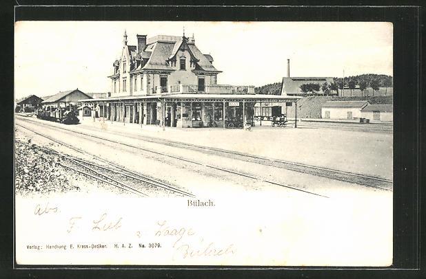 AK Bülach, Bahnhof mit einfahrendem Zug 0