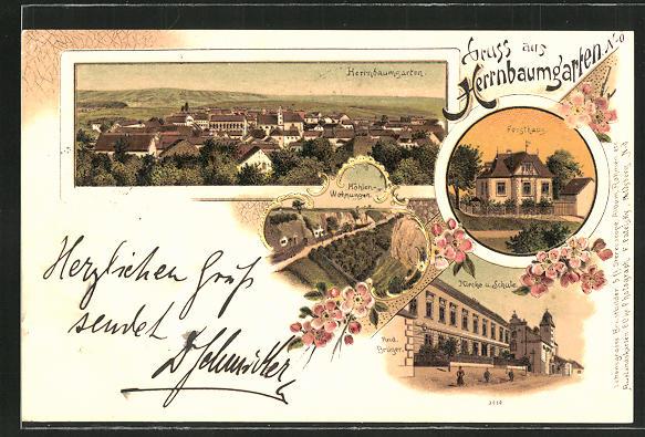 Lithographie Herrnbaumgarten, Höhlen-Wohnungen, Kirche und Schule 0