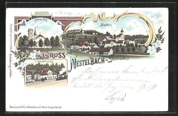 Lithographie Nestelbach, Schloss Erko, Ortsansicht, Bahnhof Lassnitz 0