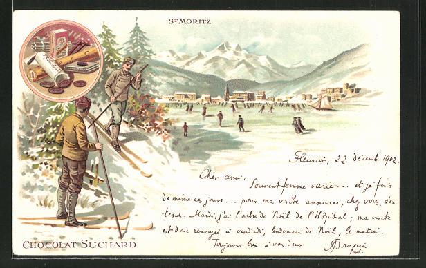 Lithographie St. Moritz, Schlittschuhläufer auf dem vereisten See, Reklame für Chocolat Suchard 0