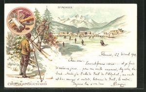 Lithographie St. Moritz, Schlittschuhläufer auf dem vereisten See, Reklame für Chocolat Suchard
