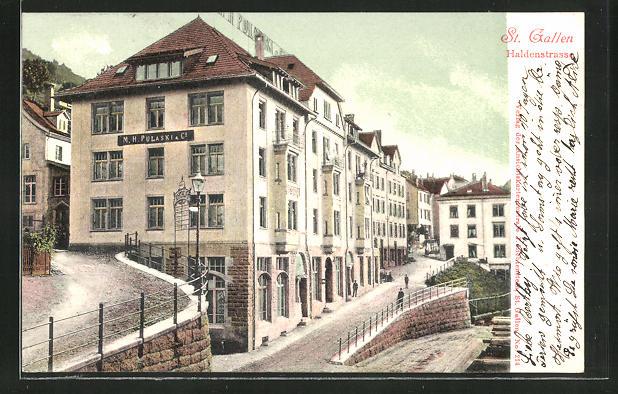 AK St. Gallen, Haldenstrasse mit Werk M. H. Pulaski & Co 0