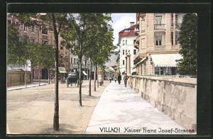 AK Villach, Blick in die Kaiser Franz Josef-Strasse