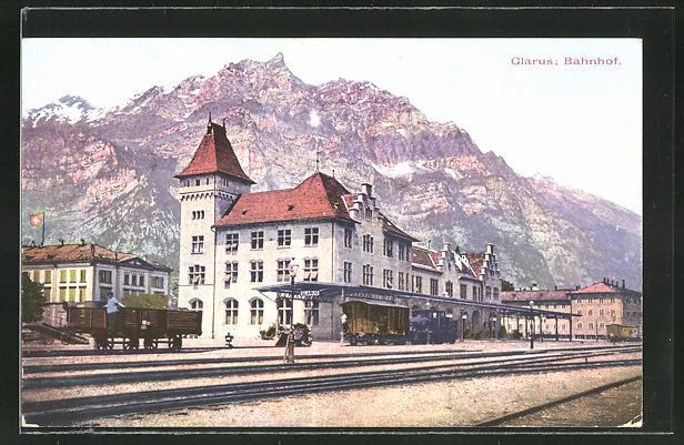 AK Glarus, Ansicht vom Bahnhof 0
