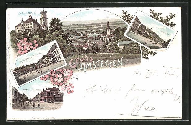 Lithographie Amstetten, Hauptplatz, Wiener Strasse, Schloss Vallse 0