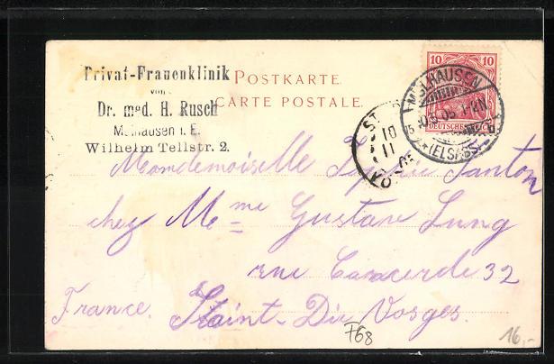 AK Mülhausen, Ansicht der Frauenklinik, Wilhelm Tellstrasse 2 1